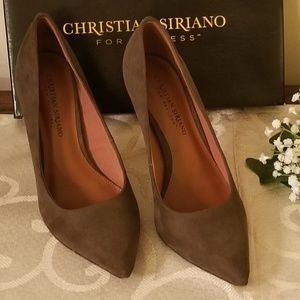 Christian Siriano Olive Faux Suede Pumps